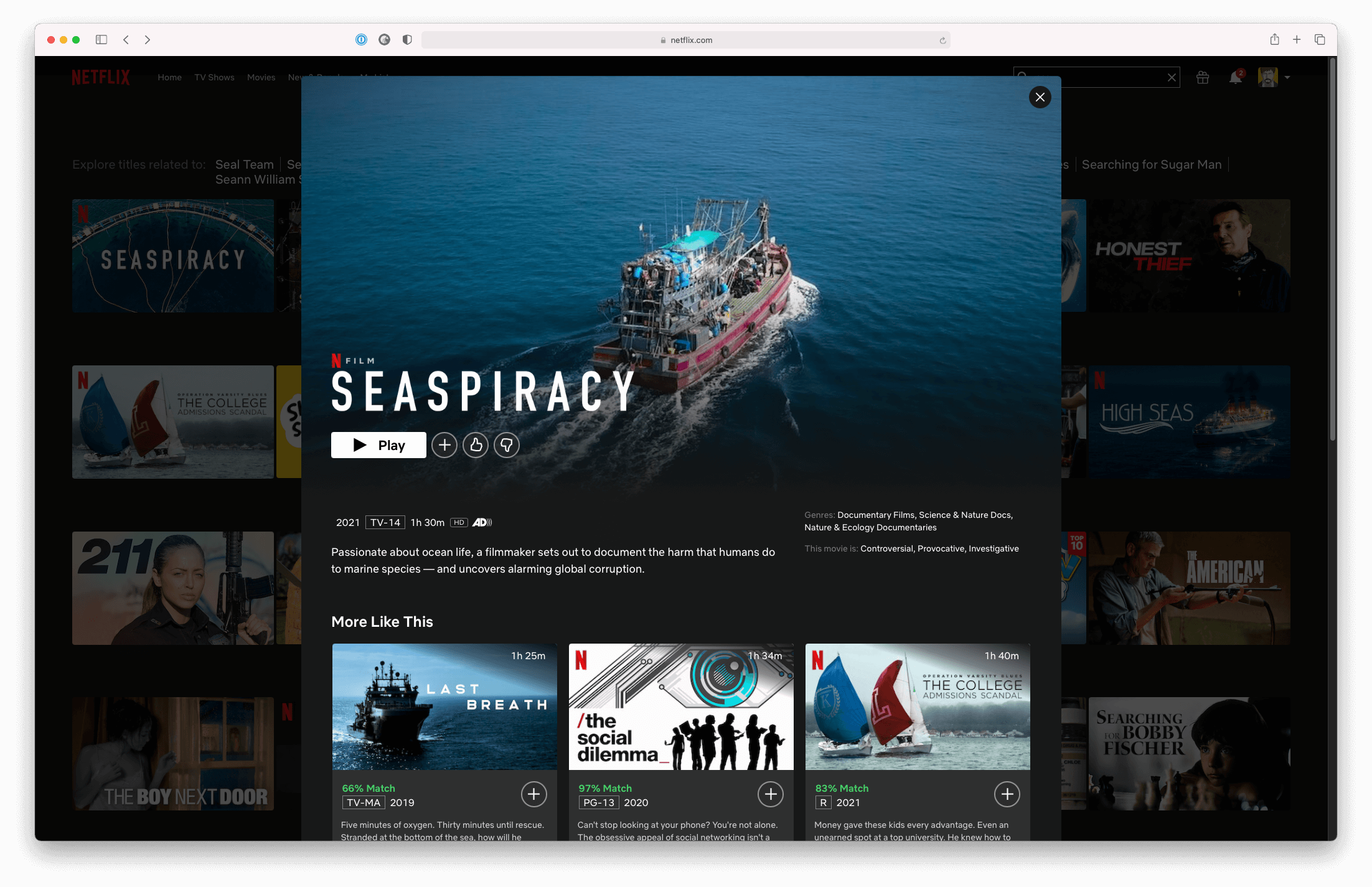 A screenshot of Seaspiracy on Netflix