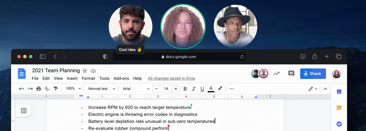 An image showing a Google Docs file with circle frames around people's faces floating above.