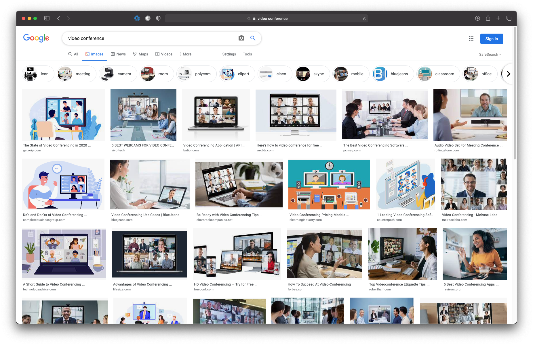 "A screen shot of a Google Image Search for ""video conference"" showing many images with videos arranged in a grid filling up a computer screen"